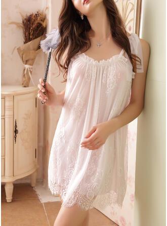 Polyester Elasthan Spitze Spitze Blumen Rundhalsausschnitt Sexy Verlockend Pyjama Set