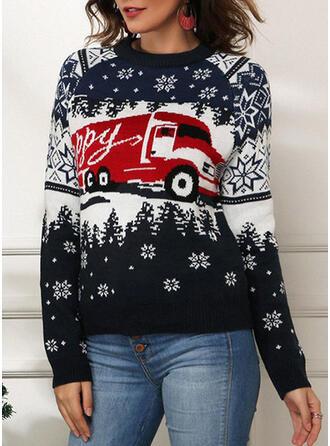 Drucken Rundhalsausschnitt Freizeit Weihnachten Pullover