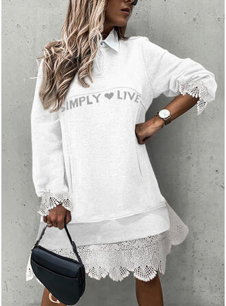 Print/Heart/Letter Lace Long Sleeves Shift Knee Length Casual Sweatshirt Dresses