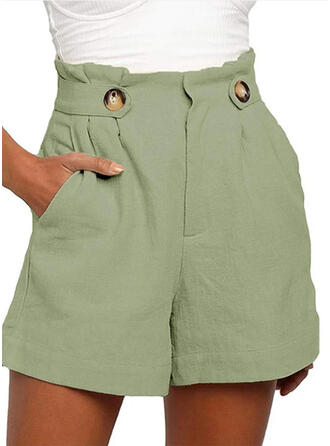 Taschen Shirred Übergröße Über dem Knie Boho Lässige Kleidung Einfarbig Kurze Hose