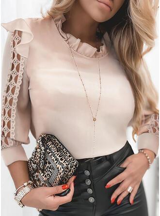 Einfarbig Spitze Rundhalsausschnitt Lange Ärmel Elegant Blusen