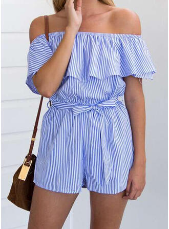 Striped Off the Shoulder Short Sleeves Elegant Romper