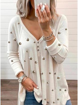 Einfarbig Perlen V-Ausschnitt Lange Ärmel Mit Knöpfen Freizeit Blusen