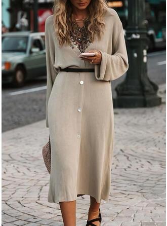 Einfarbig Lange Ärmel Etui Pullover Freizeit Midi Kleider
