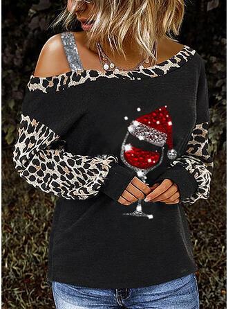 Pailletten Leopard Eine-Schulter Lange Ärmel Freizeit Weihnachten Blusen