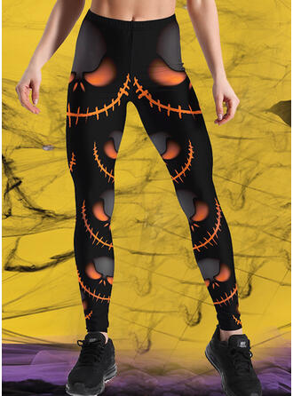 Halloween Print Long Casual Sporty Plus Size Pants Leggings