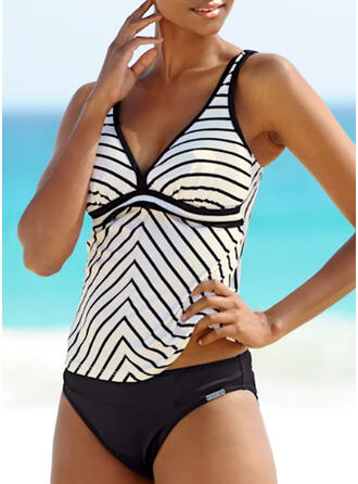 Stripe Strap V-Neck Classic Tankinis Swimsuits