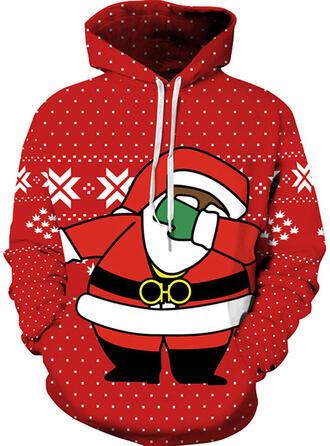 Unisex Baumwollmischungen Drucken Weihnachtsmann Weihnachts-Sweatshirt