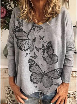 Print Butterfly Round Neck Long Sleeves T-shirts