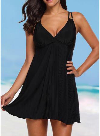 Solid Color Strap V-Neck Elegant Casual Swimdresses Swimsuits