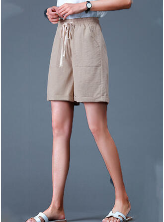 Plus Size Drawstring Casual Solid Shorts