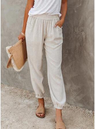Einfarbig Shirred Lange Lässige Kleidung Einfach Hosen