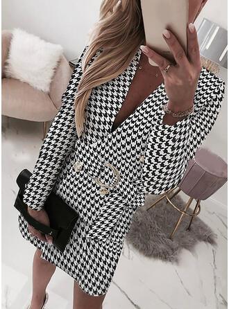 Print/Plaid Long Sleeves Sheath Above Knee Elegant/Office/Business Wrap Dresses