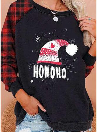 Drucken Figur Rundhalsausschnitt Lange Ärmel Freizeit Weihnachten T-shirts