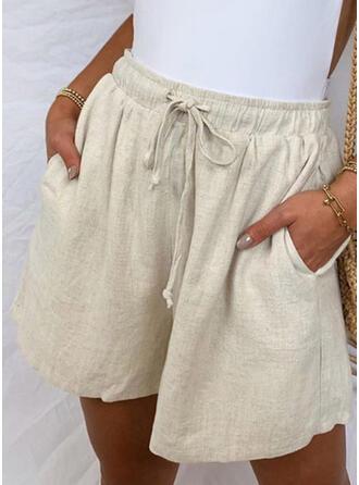 Pockets Drawstring Casual Plain Shorts