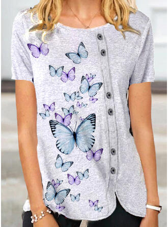 Animal Print Round Neck Short Sleeves Button Up Casual Blouses