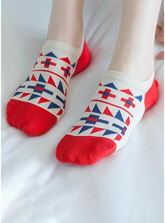 Color Block/Geometric Print/Colorful/Crochet Multi-color/Ankle Socks Socks (Set of 5 pairs)