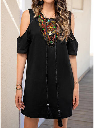 Embroidery Shift Above Knee Casual/Boho Tunic Dresses