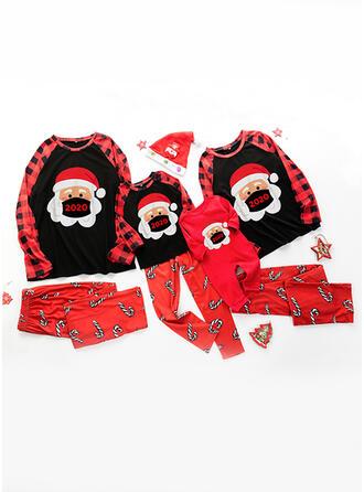 Weihnachtsmann Farbblock Karikatur Passende Familie Pyjama