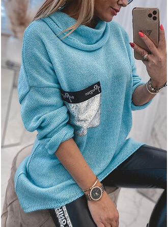 Print Pocket Sequins Hooded Casual Sweaters
