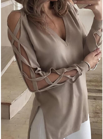 Solid Cold Shoulder Long Sleeves Casual Knit Blouses