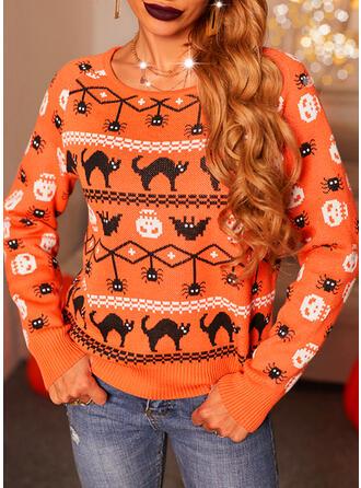 Halloween Print Animal Round Neck Casual Sweaters