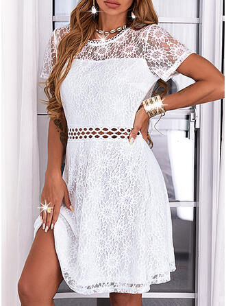 Solid Lace Short Sleeves A-line Above Knee Casual Skater Dresses