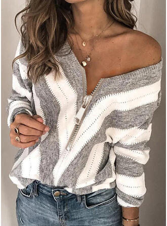 Geblockte Farben Gestreift V-Ausschnitt Freizeit Pullover
