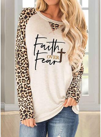 Leopard Figur Rundhalsausschnitt Lange Ärmel Freizeit T-shirts