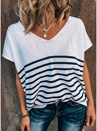 Striped V-Neck Short Sleeves T-shirts