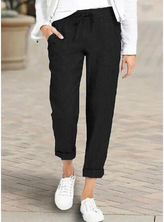 Pockets Shirred Plus Size Casual Elegant Long Pants