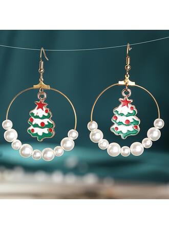 Weihnachtsbaum Geformt Weihnachten Legierung Faux-Perlen mit Faux-Perlen Ohrringe 2 STÜCK