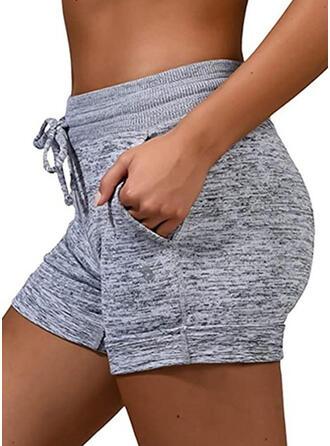 Übergröße Kordelzug Über dem Knie Lässige Kleidung Sportlich Kurze Hose