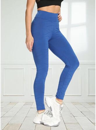 Solid Jacquard Yoga Stretchy Leggings