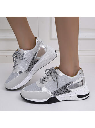 Women's Leatherette Mesh Flat Heel Round Toe Loafers Sneakers With Lace-up shoes