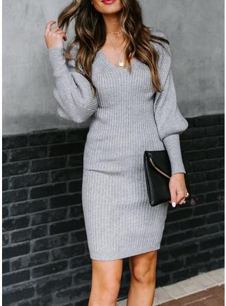 Einfarbig Lange Ärmel/Laterne Ärmel Figurbetont Knielang Freizeit/Elegant Pullover Kleider