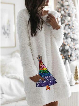 Pailletten Lange Ärmel Shift Knielang Weihnachten/Freizeit Tunika Kleider