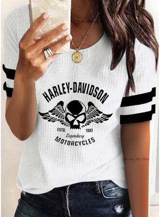 Figure Print Striped Round Neck Short Sleeves T-shirts