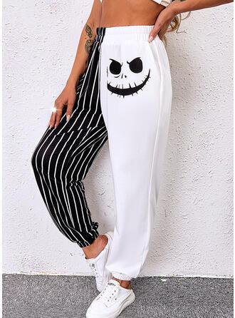 Halloween Color Block Print Long Casual Pocket Shirred Pants