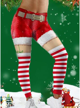 Striped Print Plus Size Christmas Casual Sporty Yoga Leggings