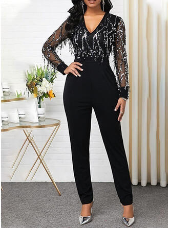 Sequins V-Neck Long Sleeves Party Jumpsuit