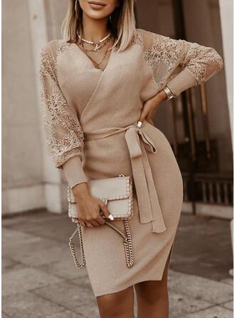 Einfarbig Spitze V-Ausschnitt Freizeit Lang Eng Pulloverkleid