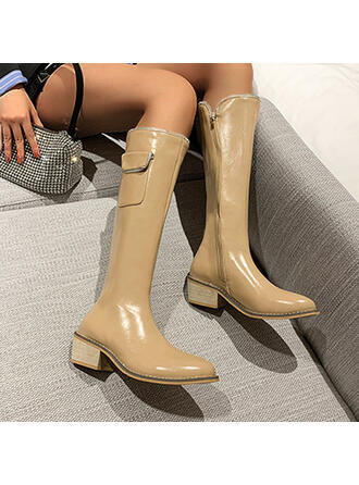 Women's Leatherette Chunky Heel Mid-Calf Boots Pointed Toe With Zipper Solid Color shoes