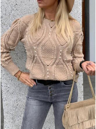 Einfarbig Zopfmuster Perlen Rundhalsausschnitt Freizeit Pullover
