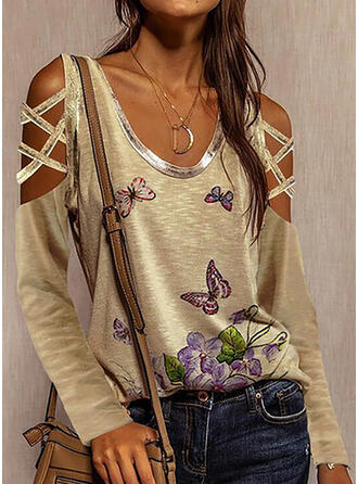 Floral Animal Print Cold Shoulder Long Sleeves Casual Blouses