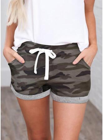 Shirred Tarnen Mini Lässige Kleidung Sportlich Kurze Hose