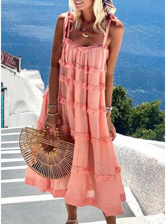 Solid Sleeveless Shift Slip Casual/Vacation Maxi Dresses