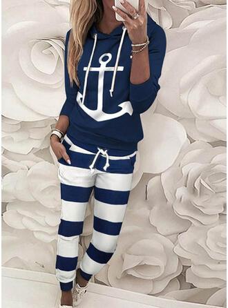 gestreift Druck Kordelzug Lange Lässige Kleidung Sportlich Hosen