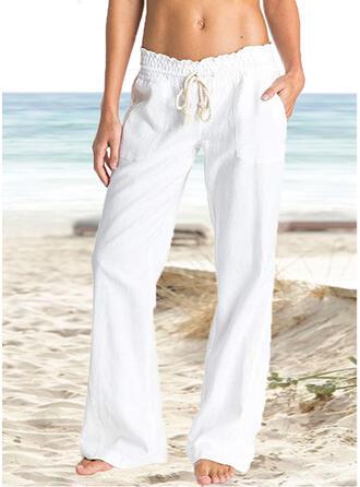 Taschen Shirred Lange Boho Lässige Kleidung Elegant Dünn Einfach Hosen