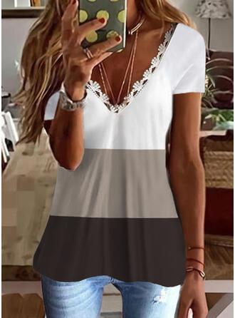 Color Block Lace V-Neck Short Sleeves T-shirts
